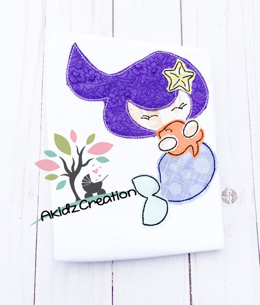 mermaid holding fish embroidery design, mermaid embroidery design, sketch mermaid embroidery design, nautical embroidery design