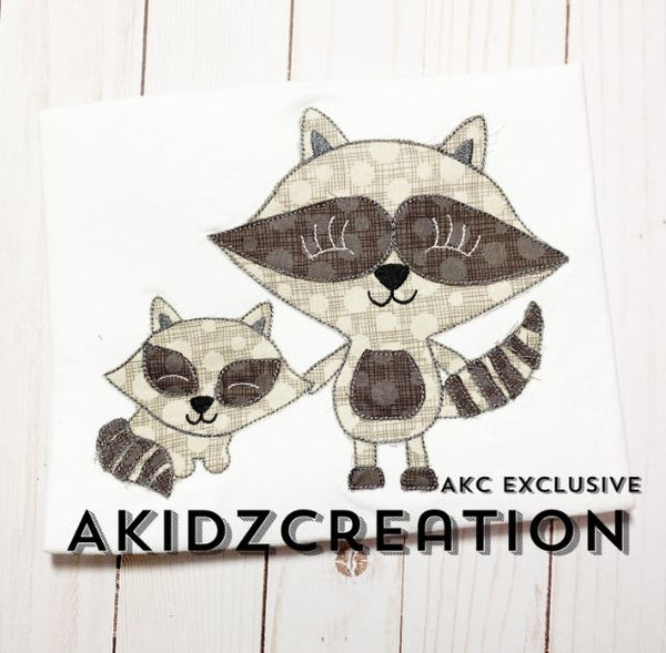 raccoon embroidery design, mommy and me raccoon embroidery design, raccoon applique, raccoon embroidery design, machine embroidery raccoon design, woodland embroidery design, woodland creature embroidery design