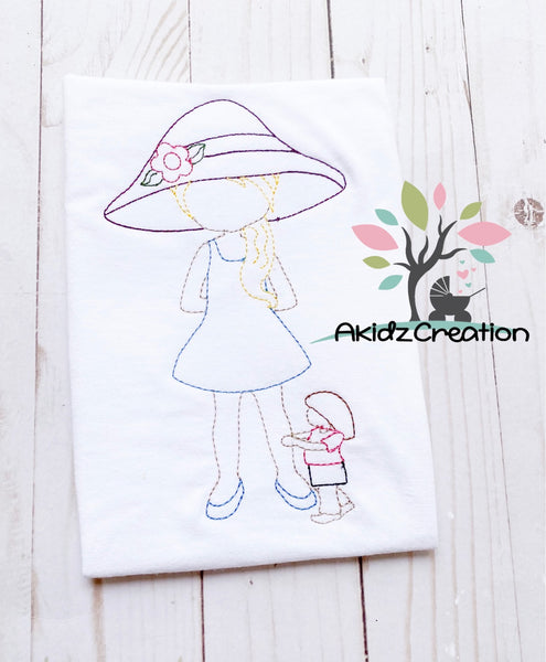 mother day embroidery design, mother and daughter embroidery design, garden hat embroidery design, mother embroidery design, vintage mother day embroidery design