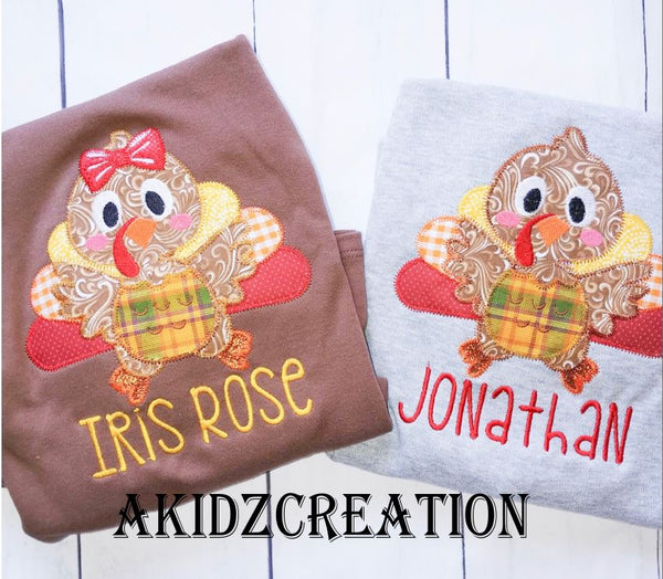 girl turkey applique, boy turkey applique, boy turkey embroidery design, girl turkey embroidery design, turkey sibling set embroidery design, thanksgiving embroidery design, thanksgiving turkey embroidery designs