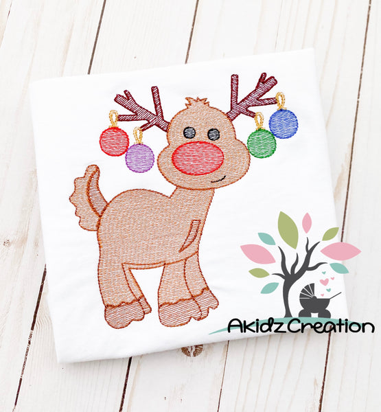 sketch Rudolph embroidery design, Christmas embroidery design, reindeer embroidery design, reindeer with ornament embroidery design,  Rudolph embroidery design, sketch embroidery design, reindeer embroidery design, sketch reindeer embroidery design, sketch deer embroidery design, deer embroidery design, christmas embroidery design, christmas ornaments embroidery design