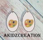 ith paint pallet earrings, paint embroidery, paint pallet embroidery, earrings, in the hoop earrings