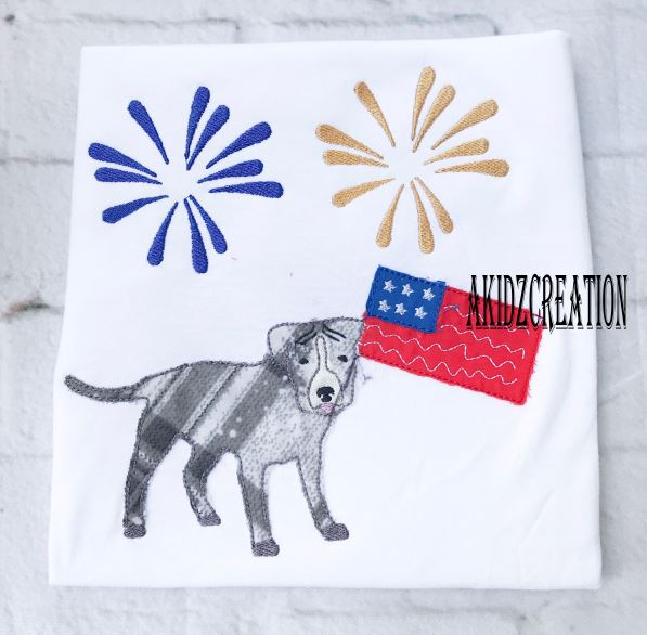 patriotic pitbull, pitbull applique, 4th of july dog embroidery, dog embroidery, puppy embroidery