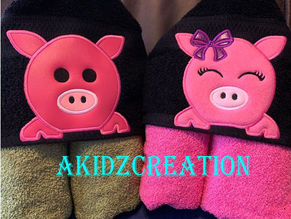 pig embroidery design, piglet embroidery design, sibling set emrboidery design, farm animal emrboidery design, pig applique, applique, pig sibling set embroidery design, akidzcreation, girl pig embroidery design, peeker embroidery, boy pig embroidery design