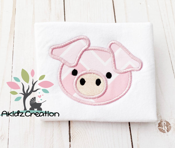 pig applique, applique, machine embroidery pig applique, farm animal applique, pig applique