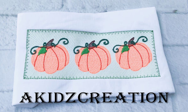 faux smock pumpkin trio embroidery design, pumpkin trio embroidery design, pumpkin embroidery, thanksgiving embroidery, fall embroidery, halloween embroidery, halloween faux smock embroidery design