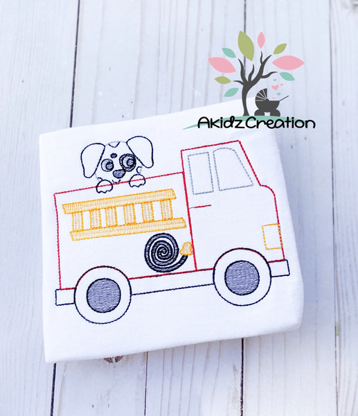 Dalmatian embroidery design, fire truck embroidery design, service vehicle embroidery design, service embroidery design, fire fighter embroidery design, dog embroidery design, puppy embroidery design, fire hose embroidery design, truck embroidery design