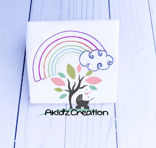quick stitch rainbow embroidery design, rainbow embroidery design, vintage rainbow embroidery design, rainbow baby embroidery design, clouds embroidery design