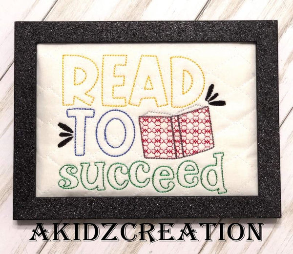 read to succeed embroidery design, reading pillow embroidery design, pocket pillow embroidery design, book embroidery design
