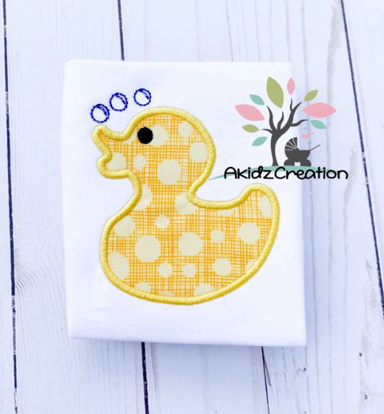 rubber duck embroidery design, duck embroidery design, duck applique, applique, machine embroidery duck applique