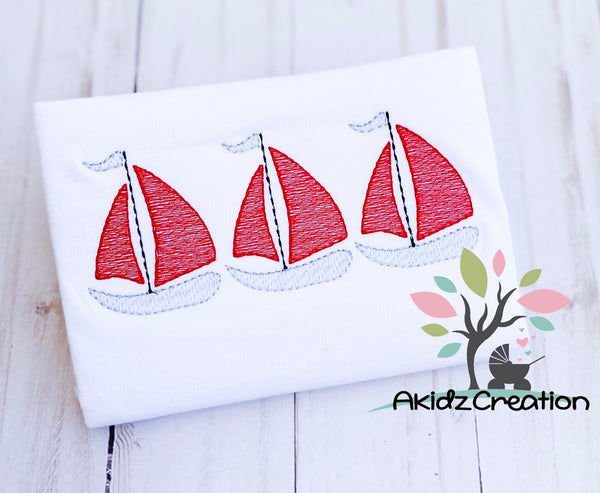 sailboat trio, trio design, embroidery, embroidery design, akidzcreation, boat embroidery, sailboat embroidery, nautical embroidery, nautical embroidery design, sea life embroidery design