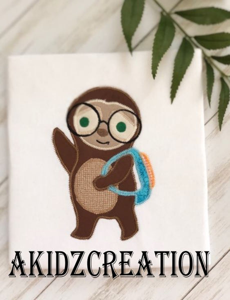 back to school sloth embroidery design, school sloth embroidery design, sloth embroidery design, sloth applique, applique, back pack embroidery design, sloth with glasses embroidery design