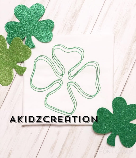 scribble clover embroidery design, clover embroidery design, st patricks day embroidery design, shamrock embroidery design, four leaf clover embroidery design, quick stitch clover embroidery, vintage clover design , vintage shamrock design
