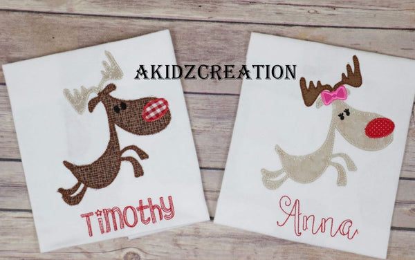 reindeer embroidery design, deer embroidery design, applique, christmas embroidery design, running reindeer embroidery, running deer embroidery,