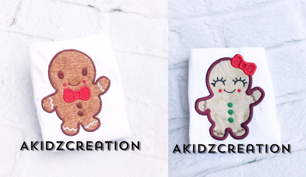 girl and boy gingerbread embroidery design, gingerbread embroidery design, christmas embroidery design, cookie embroidery design, sibling set embroidery design
