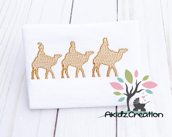 three wisemen embroidery design, christmas embroidery design, sketch embroidery design, camel embroidery design, sketch camel embroidery design , sketch donkey embroidery design, sketch horse embroidery design, trio embroidery design