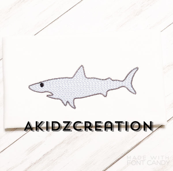 shark embroidery design, great white shark embroidery design, shark embroidery design, sketch shark embroidery design, akidzcreation, sketch embroidery, machine embroidery great white shark design