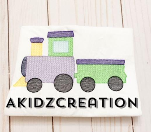 sketch train embroidery design, train embroidery design, vehicle embroidery design, transportation embroidery design, choo choo train embroidery design, machine embroidery train design