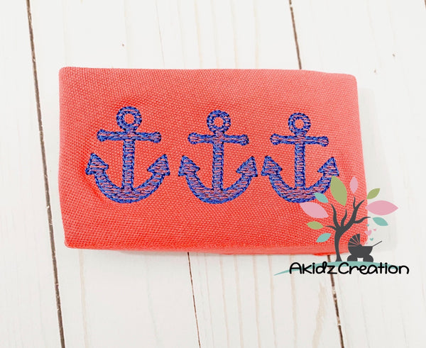 anchor embroidery, embroidery, machine embroidery, nautical embroidery, sea life embroidery, akidzcreation