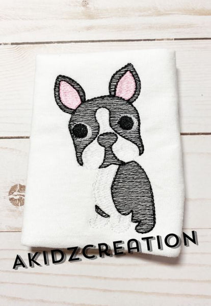 sketch embroidery, sketch design, embroidery, machine embroidery, boston embroidery design, boston terrier embroidery design, dog embroidery design, puppy embroidery design, sketch boston terrier embroidery design, sketch boston design