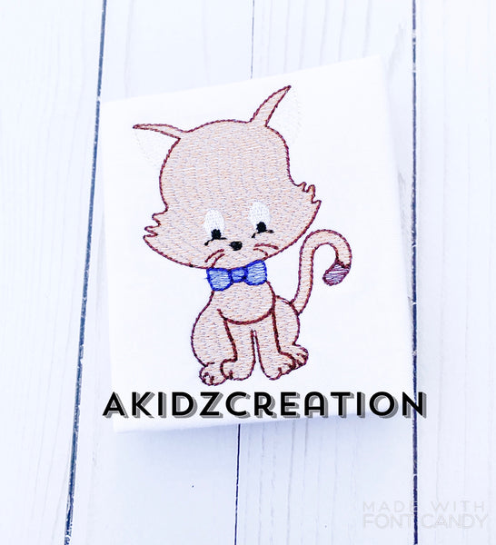 sketch cat embroidery design, cat embroidery design, sketch embroidery design, cat in bow tie embroidery design, sketch cat design, machine embroidery cat design