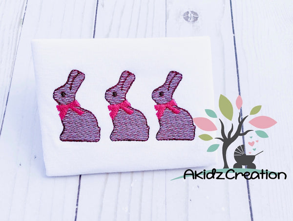 rabbit embroidery, bunny embroidery, sketch bunny, sketch design, sketch chocolate bunny embroidery design, bunny trio embroidery design, rabbit trio embroidery design, easter embroidery design, sketch bunny embroidery design, sketch rabbit embroidery design