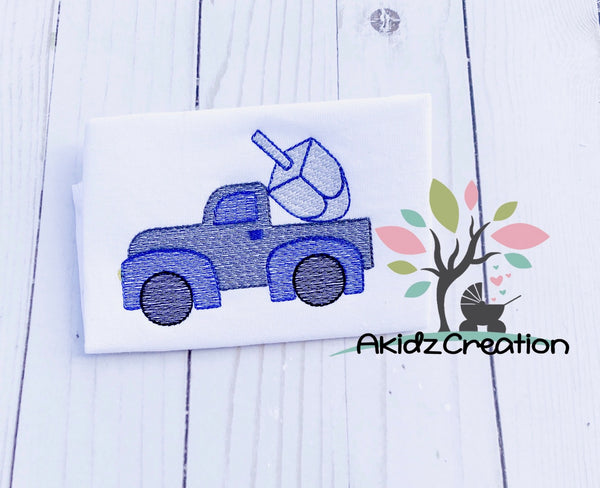 sketch dreidel truck embroidery design, hanukkah embroidery design, sketch hannukah embroidery design, dreidel embroidery, truck embroidery, sketch dreidel embroidery design, religious embroidery design, passover embroidery design