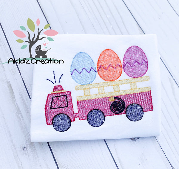 easter fire truck embroidery, machine embroidery, akidzcreation, easter egg embroidery, easter embroidery, fire fighter embroidery, sketch embroidery, fire truck embroidery design, easter embroidery design, easter egg embroidery design, service vehicle embroidery design, service embroidery design, fire fighter embroidery design