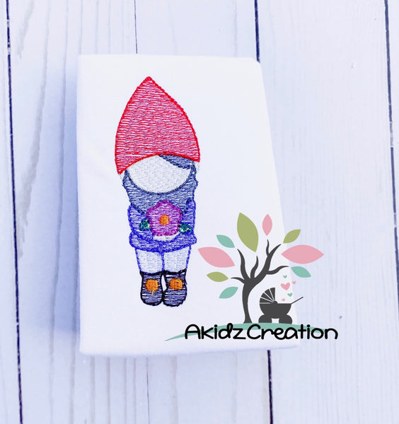 easter gnome, gnome embroidery, sketch embroidery, garden gnome embroidery, akidzcreation, sketch gnome embroidery design, gnome embroidery design, gnome holding flower embroidery design, spring embroidery design, easter embroidery design, sketch easter gnome, sketch spring gnome, sketch gnome with flower, sketch gardening gnome