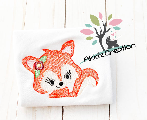 sketch fox peeker embroidery design, fox embroidery design, peeker embroidery design, fox peeker embroidery design, woodland animal embroidery design