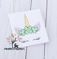 sketch shamrock unicorn embroidery design, clover embroidery design, shamrock embroidery design, unicorn embroidery design, sketch unicorn embroidery design