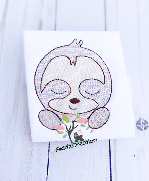sketch sloth embroidery design, sloth peeker embroidery design, peeker embroidery design, sloth design. machine embroidery sloth design