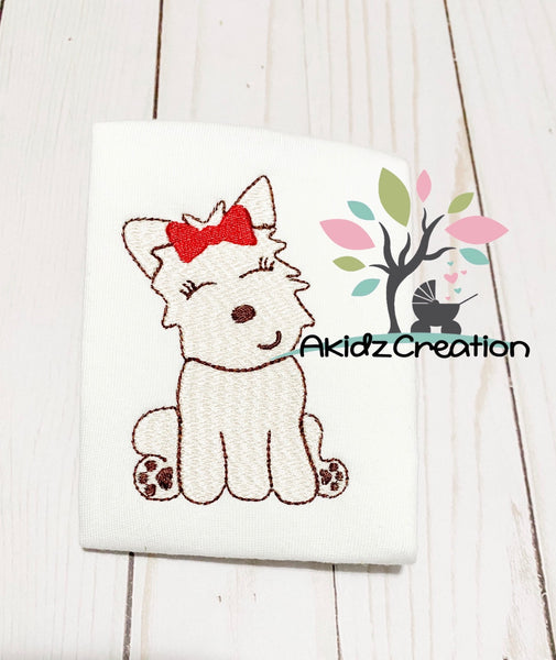 sketch girl dog, dog embroidery, puppy embroidery, akidzcreation, westland terrier embroidery design, westland embroidery design, sketch westie, westie dog embroidery design, dog embroidery design, puppy embroidery design