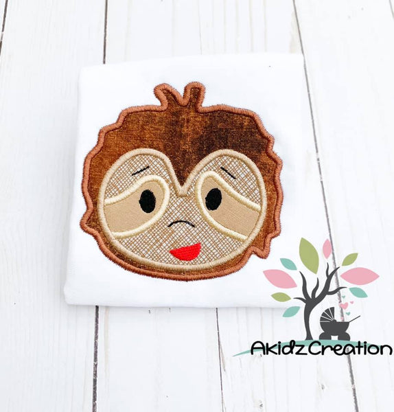 sloth applique, satin applique embroidery design, sloth applique, sloth embroidery design, machine embroidery sloth applique, sloth head embroidery design