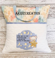 stars and moon reading pillow, reading pillow, teddy bear reading pillow, pillow pocket, pillow pocket pattern, reading pillow embroidery file, reading pillow embroidery design, star embroidery, moon embroidery