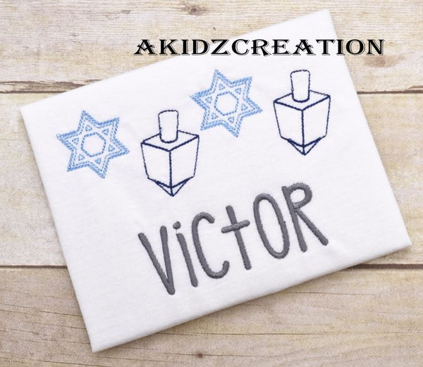 dreidel embroidery design, star of david embroidery design, jewish embroidery design, hanukkah embroidery design
