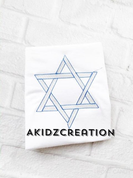 sketch embroidery design, sketch star of david embroidery design, star of david design, hanukkah embroidery design