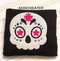 sugar skull embroidery design, sugar skull applique, halloween applique, skull applique, skull embroidery