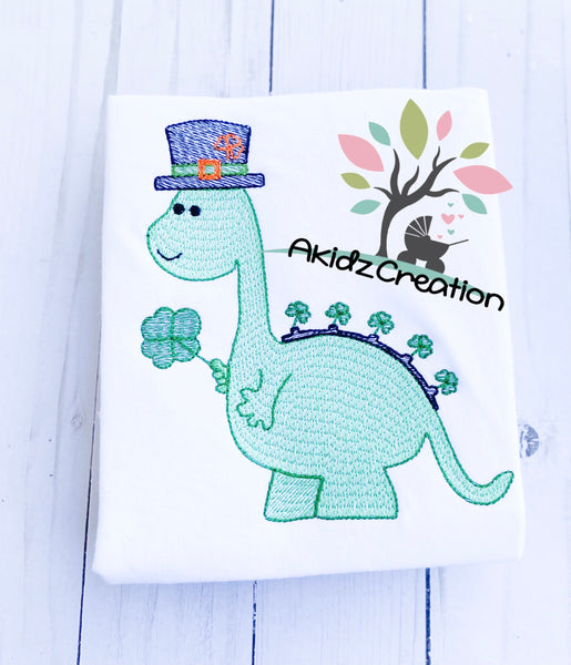 shamrock dino, st patricks day dino, akidzcreation, sketch design, st patricks day embroidery design, top hat embroidery design, clover embroidery design, dino embroidery design, dinosaur embroidery design, shamrock embroidery design, sketch embroidery design