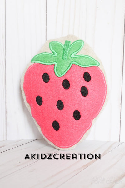strawberry stuffie embroidery design, stuffie embroidery design, strawberry design, machine embroidery strawberry