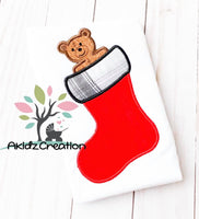 christmas stocking embroidery design, bear in a christmas stocking embroidery design, bear embroidery design, christmas bear embroidery design