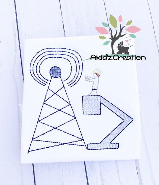 lineman embroidery design, telecommunication tower embroidery design, cell tower embroidery design, tower embroidery design, sketch embroidery design, sketch lineman embroidery design