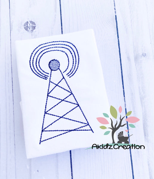 telecommunication tower embroidery design, tower embroidery design, mobile device tower embroidery design, quick stitch embroidery design, vintage tower embroidery design