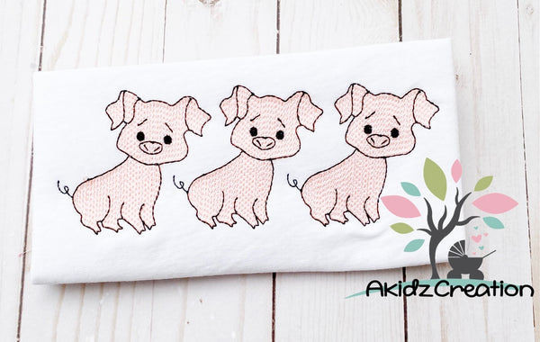 three little pigs embroidery, sketch embroidery, embroidery, designs, akidzcreation, pig embroidery design, sketch pig embroidery design, sketch embroidery design, sketch pigs embroidery design