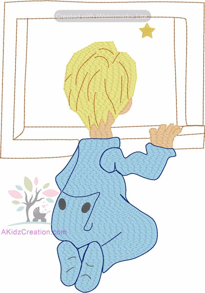 boy looking out the window embroidery design, window embroidery design, star embroidery design, bean stitch embroidery design, sketch embroidery design, boy in pajama embroidery design