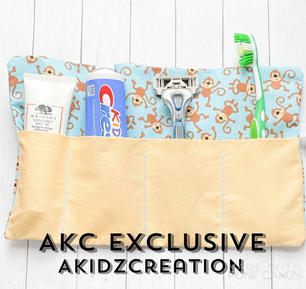 in the hoop embroidery, in the hoop travel roll up case, in the hoop tooth brush holder, in the hoop roll up, akidzcreation