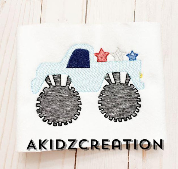 monster truck embroidery design, patriotic monster truck, independence day embroidery design, patriotic embroidery design, star embroidery design, sketch embroidery design, akidzcreation