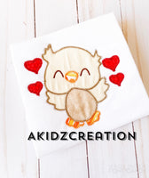 valentine owl embroidery design, owl embroidery design, love owl embroidery design, valentine owl applique, applique, animal embroidery design, bird embroidery design