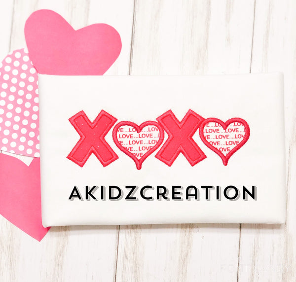 valentines xoxo embroidery design, xoxo embroidery design, valentines embroidery design , love embroidery design, applique, valentines applique