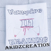 vampire in training embroidery design, vampire embroidery, vampire teeth embroidery design